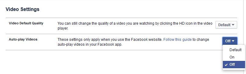 Disable Auto-play Videos on Facebook