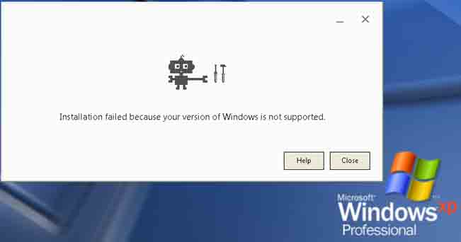 Can't install Chrome