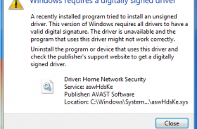 Windows requires a digitally signed driver. How to fix