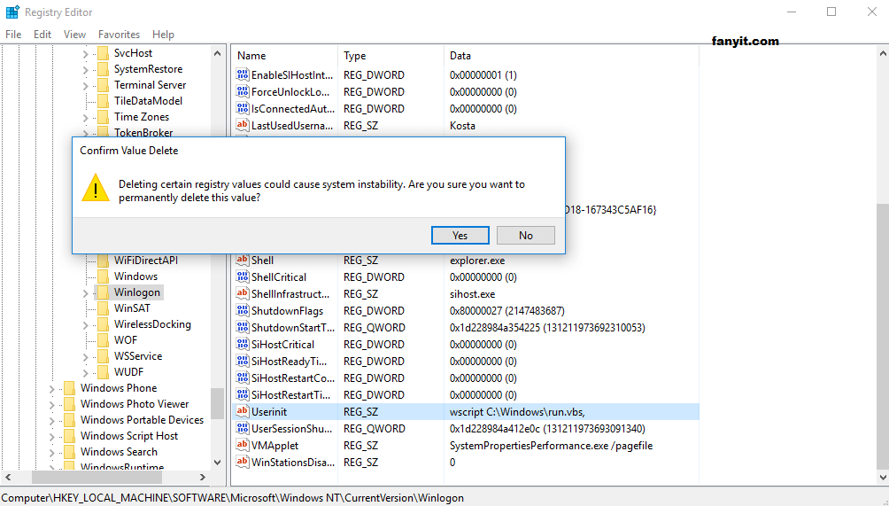 How to stop from startup windows script host