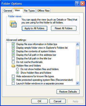 How can i see my hidden file in my computer Windows XP