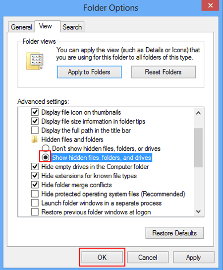 hidden file in my computer Windows 8.1