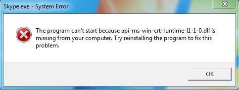 Skype can't start because api-ms-win-crt-runtime-l1-1-0.dll